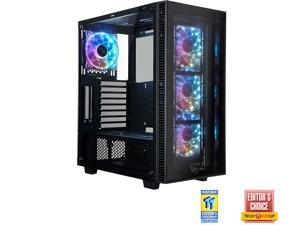 ROSEWILL CULLINAN MX Tempered Glass RGB ATX Mid Tower Computer Case with Remote Controlled RGB LED Fans