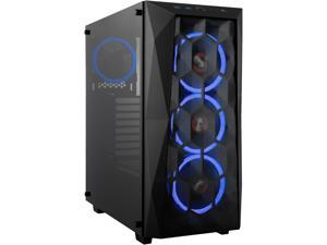 Rosewill ATX Mid Tower Gaming PC Computer Case with Front Mesh Ventilation, Tempered Glass/Steel, Includes 4 x 120mm Blue LED Fans, 240mm AIO Liquid Cooler up to 360mm Support, USB 3.0 SPECTRA X-BLUE