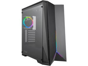 Rosewill ATX Mid Tower Gaming PC Computer Case with RGB Fan & LED Light Strip, 240mm AIO up to 360mm Support, Bottom Mount PSU & HDD/SSD, Tempered Glass & Black Steel - ZIRCON M