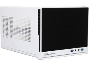 SilverStone SG13WB-Q Black / White Plastic front panel with faux aluminum finish, steel body Mini-ITX Computer Case Compatible with standard ATX12V/EPS12V Power Supply Power Supply