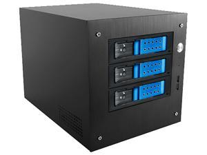 "iStarUSA S-35-3DE1BK Black Aluminum / Steel Tower Compact Stylish 3x 3.5"" Hotswap Trayless mini-ITX Tower - Black HDD Handle"