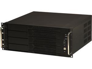 Athena Power RM-4U400S80 Black Aluminum Front Panel and 1.2mm Steel 4U Rackmount Server Case