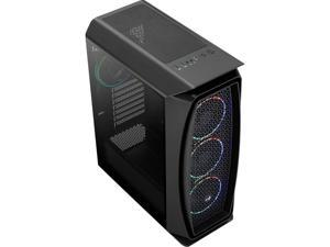 AeroCool Aero One Eclipse Black High-performance Mid Tower Case with Full Tempered Glass Side Panel and 4 Addressable RGB Fan