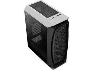 AeroCool Aero One Eclipse White High-performance Mid Tower Case with Full Tempered Glass Side Panel and 4 Addressable RGB Fans