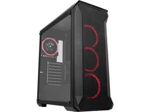 SAMA Tank-RGB Black Dual USB3.0 Steel/ Tempered Glass ATX Mid Tower Gaming Computer Case w/Tempered Glass Panel and 4x Addressable RGB LED Ring Fans Pre-Installed