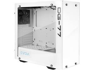 EVGA DG-77 Alpine White Mid-Tower, 3 Sides of Tempered Glass, Vertical GPU Mount, RGB LED and Control Board, K-Boost, Gaming Case 176-W1-3542-KR