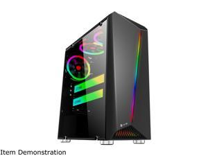 Bgears b-Vigor RGB Black Steel / Plastic / Tempered Glass ATX Mid Tower Computer Case with RGB Front Panel