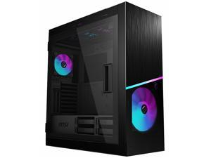 MSI MPG SEKIRA 500X Mid-Tower Aluminum and Steel Computer Case Designed for up to EATX Motherboards with USB 3.2 Gen 2 Type-C, 2x Tool-Less Tempered Glass, and Five Case Fans included.