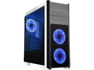 DIYPC DIY-TG8-BW Black Dual USB3.0 Steel/ Tempered Glass ATX Mid Tower Gaming Computer Case w/Tempered Glass Panels (Front, Top and Both Sides) and Pre-Installed 3 x Blue 33LED Light Fan