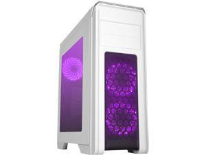 DIYPC D480-W-RGB White Dual USB 3.0 ATX Mid Tower Gaming Computer Case with Build-in 3 x RGB LED Fans (Pre-Installed) and RGB Remote Control