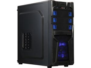 DIYPC Solo-T2-BK Black USB 3.0 ATX Mid Tower Gaming Computer Case with 2 x Blue Fans (1 x 120mm LED Fan x Front, 1 x 120mm Fan x Rear) Pre-installed
