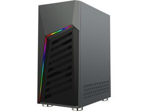 DIYPC Rainbow-Flash-G1 Black USB3.0 Steel ATX Mid Tower Gaming Computer Case w/ Tempered Glass Panel and Addressable RGB LED Strip