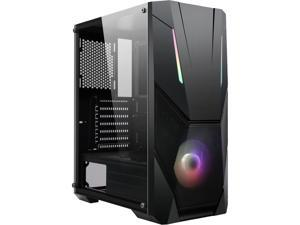 DIYPC Zetta-ARGB Black Steel / Tempered Glass ATX Mid Tower Computer Case w/ 120mm Halo ARGB LED Fan Pre-Installed