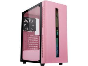 DIYPC Rainbow-Flash-S1-P Pink Steel / Tempered Glass ATX Mid Tower Computer Case with 1 x 120mm Fan Pre-Installed