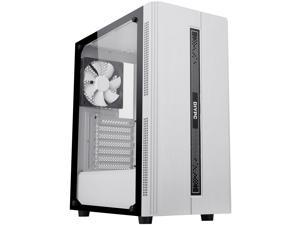 DIYPC Rainbow-Flash-S1-W White Steel / Tempered Glass ATX Mid Tower Computer Case with 1 x 120mm Fan Pre-Installed