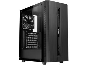 DIYPC Rainbow-Flash-S1-BK Black Steel / Tempered Glass ATX Mid Tower Computer Case with 1 x 120mm Fan Pre-Installed