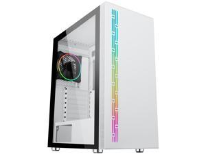 DIYPC AVVUS-W-ARGB White Steel / Tempered Glass ATX Mid Tower Computer Case with 1 x 120mm Halo ARGB LED Fan Pre-Installed