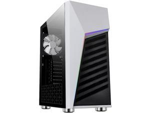 DIYPC Rainbow-Flash-G1-W White Steel / Tempered Glass ATX Mid Tower Computer Case with Addressable RGB LED Strip x Front