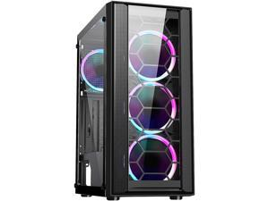 DIYPC Rainbow-Flash-F4-B Black Steel / Tempered Glass ATX Mid Tower Computer Case, 4 x 120mm Autoflow Rainbow LED Fans (Pre-Installed)