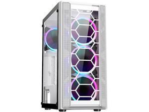 DIYPC Rainbow-Flash-F4-W White Steel / Tempered Glass ATX Mid Tower Computer Case, 4 x 120mm Autoflow Rainbow LED Fans (Pre-Installed)