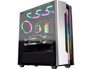 COUGAR Gemini S Silver Gaming Mid Tower Case with a Full-Sized Tempered Glass Cover and Integrated RGB Lighting