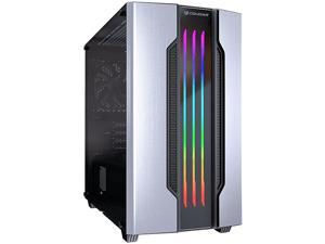 COUGAR Gemini M-Silver Silver Steel / Tempered Glass Mini Tower Computer Case w/ Integrated Trelux RGB Lighting