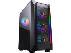 COUGAR MX410 Mesh-G RGB Black ATX Mid Tower Powerful and Compact Mid-Tower Case with Mesh Front Panel and Tempered Glass Built-in 4 RGB Fan