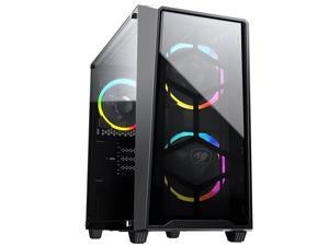 COUGAR MG120-G RGB Black Compact RGB Mini Tower Case with Tempered Glass Side Window
