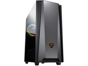 COUGAR MX660 Iron RGB-Dark Dark Black Steel / Plastic / Tempered Glass ATX Mid Tower Computer Case with Iron Front Panel and Clear Tempered Glass Left Panel