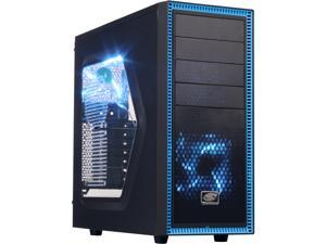 DEEPCOOL TESSERACT SW Mid Tower Computer Case with Side Window and 2 Blue LED Fans SGCC+PLASTIC+RUBBER COATING