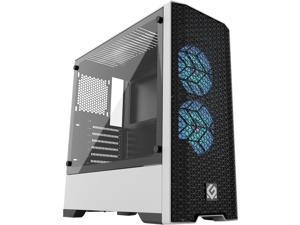 Metallic Gear Neo Air White ATX Mid-tower High Airflow Mesh front design, 2x 120 RGB Skiron fans, RGB Controller, Black/White