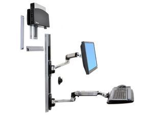 Ergotron 45-253-026 LX Wall Mount System, Keyboard & Monitor Mount with Small CPU Holder