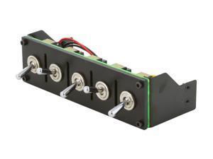 """Lamptron 5.25"""" 5-channel fan controller, 100w/channel, on/off switch, molex 4-pin fan connectors"""