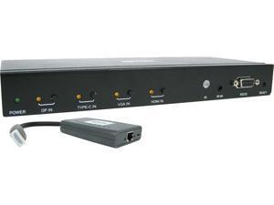 Tripp Lite B320-4X1-MHB-K 4-Port over Cat6 Presentation Switch/Extender Kit - 4K 60 Hz HDMI, DP & USB-C, VGA, UHD, 4:4:4, HDR, PoC, 50 ft. TAA