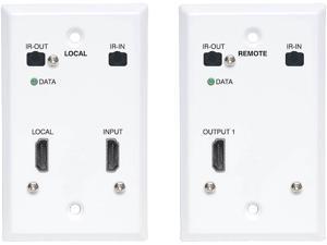 Tripp Lite B127A-1A1-FHFH HDMI over Cat6 Extender Kit, Wallplate, 4K 60Hz, 4:4:4, IR, PoC, HDR, HDCP 2.2, 230 ft., TAA