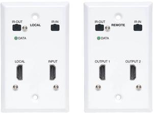Tripp Lite B127A-2A1-FHFH HDMI over Cat6 Extender Kit, Wallplate, 4K 60Hz, HDR, Dual Output, IR, PoC, 230 ft., TAA