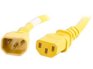 C2G 17556 14 AWG Power Cord - C14 to C13, Yellow (6 Feet, 1.82 Meters)