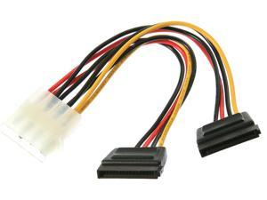 """Rosewill RC-6""""-PW-4P-2SA 6 in. Molex 4pin Male to Two 15pin SATA Power Cable"""
