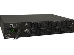 Tripp Lite 5.8 kWatts Single-Phase Switched PDU with LX Platform Interface, 208 / 240V Outlets (8 x  C13 & 6 x C19), L6-30P input, 15.0 Feet Cord, 2U Rack-Mount, TAA (PDUMH30HV19NET)