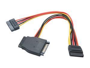 "OKGEAR AD-Y-SATA-0.2M 8 in. 8"" SATA 15pin male to three SATA 15pin female cable Adapter Male to Female"