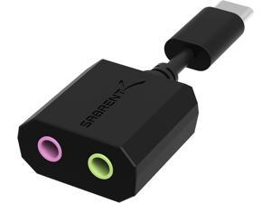 SABRENT AU-MMSC USB Type-C External Stereo Sound Adapter for Windows and Mac