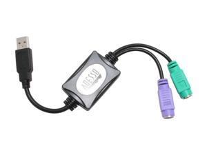ADESSO  Model  ADP-PU21  Spec   Type  USB to PS/2  Specifications  USB Connector: Type A  PS/2 Connector: Keyboard - 6-pin Mini Din Female (purple); Mouse - 6-pin Mini Din Female (green)  Features   F