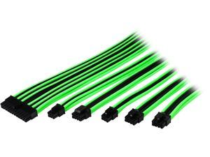 Thermaltake AC-034-CN1NAN-A1 11.81 in. (All Cables)  TtMod Sleeve Extension Power Supply Cable Kit ATX/EPS/8-pin PCI-E/6-pin PCI-E with Combs Green/Black