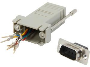 C2G 02945 RJ45 to DB9 Male Serial RS232 Modular Adapter, Gray