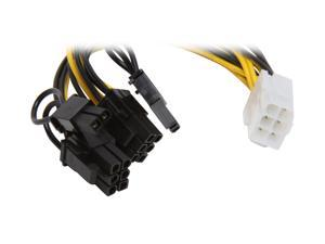 """Athena Power CABLE-YPCIE628 6 in. PCIE 6 pin """"Y"""" Split to Two PCIE 2.0 8(6+2) pin Cable Female to Male"""