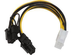 "Athena Power CABLE-YPCIE628 7.25 in. PCIE 6pin ""Y"" Split to Two PCIE 2.0 8(6+2)pin Cable Female to Male"