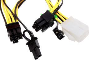 Athena Power CABLE-EPCIE1628 1.33 ft. PCI Express 6-Pin to Dual 8(6+2) Pin Linear Extension Power Converter