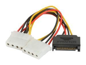 Athena Power CABLE-S15M42 5 + 5 in.  SATA 15pin to Dual Molex 4pin Cable