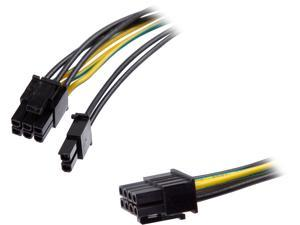 Athena Power CABLE-EPSMPCIE12 Internal Power Cable, 1x EPS 8pin Male, 1x PCIe 6+2pin Male, 12 in. Length, 18 AWG, Additional Power Given to PCIe Graphic Card