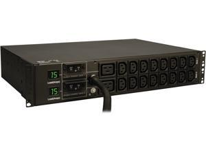 Tripp Lite Metered PDU, 5.8 kW Single-Phase 208 / 240V Outlets (16 x C13 & 2 x C19), L6-30P, 12 Feet Cord, 2U Rack-Mount, TAA (PDUMH30HV)
